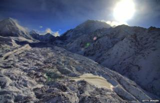 This picture taken on May 11, 2009, shows The Khumbu Glacier at Everest-Khumbu region