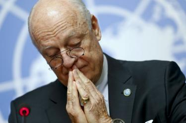 UN special envoy Staffan de Mistura attends a news conference in Geneva, Switzerland (14 March 2016)