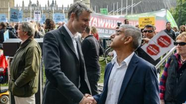 Sadiq Khan and Zac Goldsmith shake hands at anti-Heathrow expansion rally
