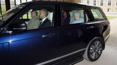 Prince Philip driving a car with Barack Obama, Michelle Obama and the Queen