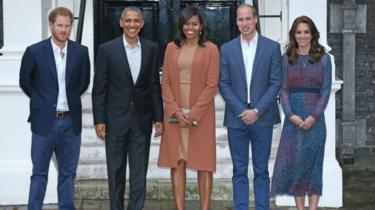 Prince Harry, Barack Obama, Michelle Obama, the Duke of Cambridge, the Duchess of Cambridge