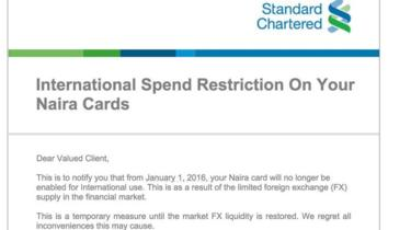 Standard Chartered announcement