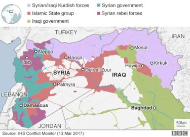 Map showing control of Syria and Iraq (13 March 2017)