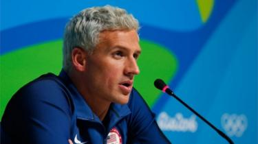 Ryan Lochte attends a press conference in Rio de Janeiro, Brazil. Photo: August 2016
