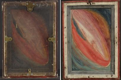 Parte de trás do quadro 'Virgem Maria e Menino Jesus'