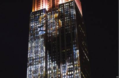 Cecil the lion projected on to Empire State