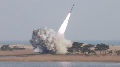 a test-fire of the new large-caliber missile at an undisclosed location in North Korea - March 2016