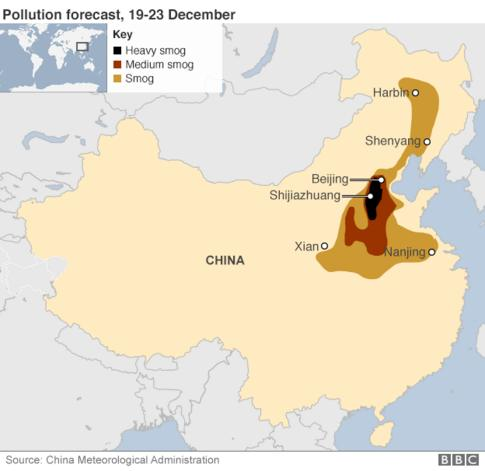 Map showing forecast smog in China