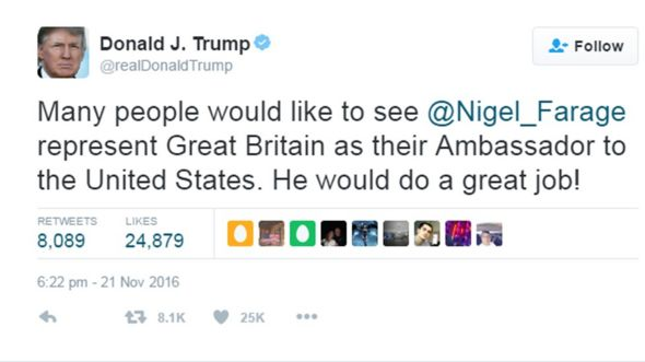 Trump tweet re Farage
