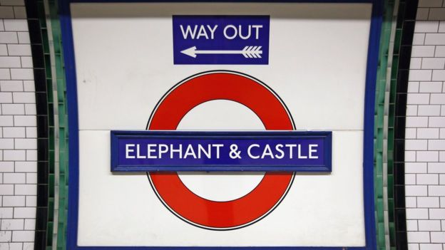 Cartel de la estación de Elephant and Castle