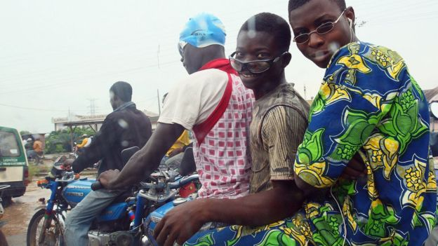 People on a motorbike in Nigeria