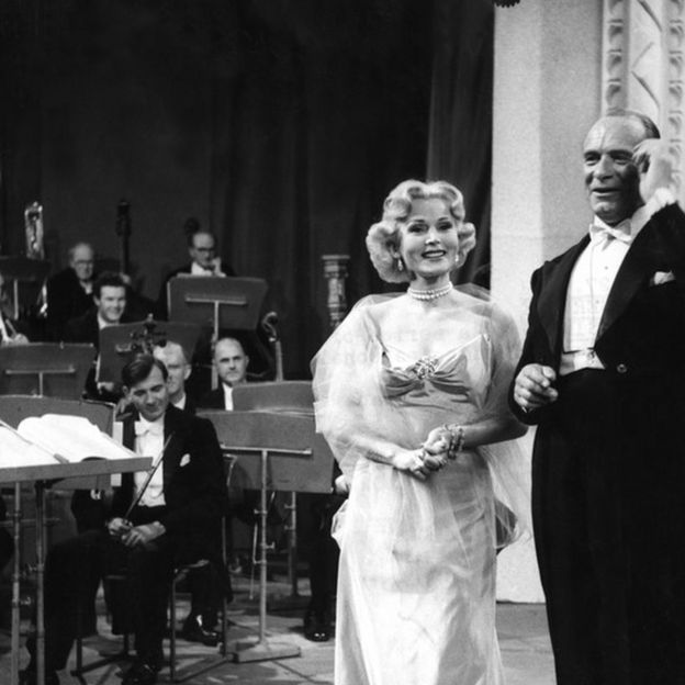 Zsa Zsa Gabor in a BBC studio in 1952