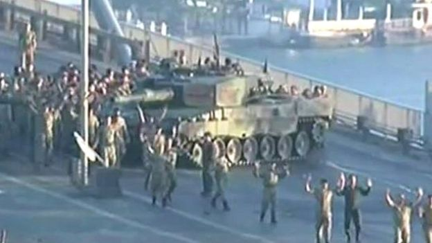 Soldiers with their hands up on Istanbul's Bosporus Bridge
