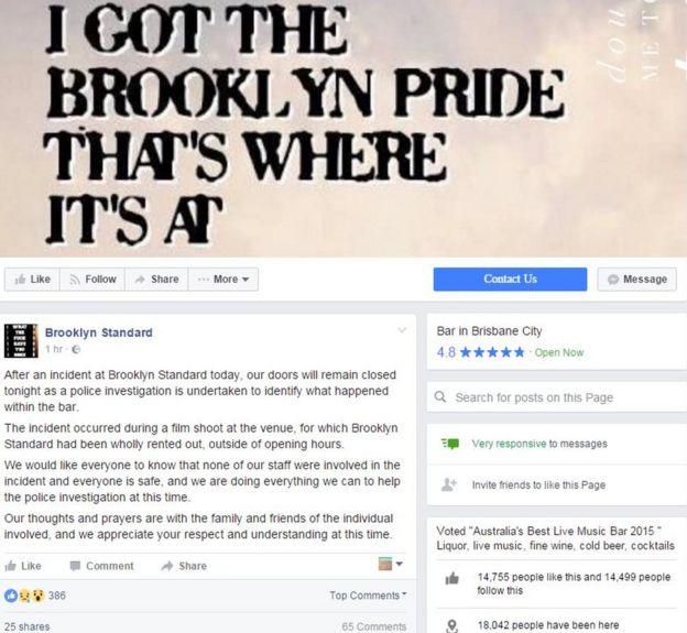 Screenshot of Brisbane bar Brooklyn Standard's statement on shooting