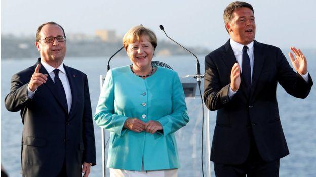 President Francois Hollande, Chancellor Angela Merkel, and Prime Minister Matteo Renzi