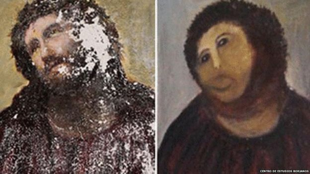 Elias Garcia Martinez's Ecce Homo (left) and the