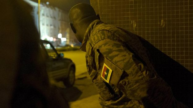 A Burkinabe soldier in Ouagadougou, 16 January