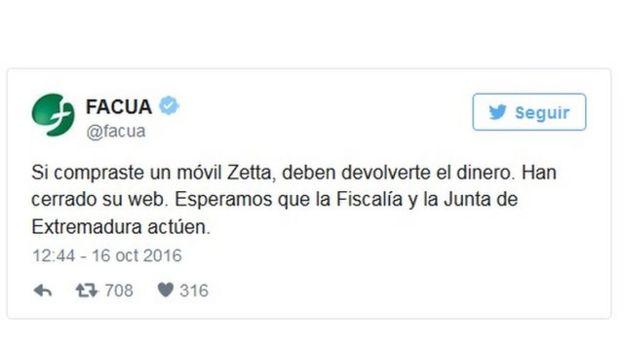 Comentario de FACUA en Twitter