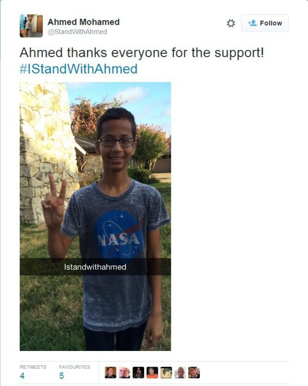 @StandWithAhmed tweet reads: