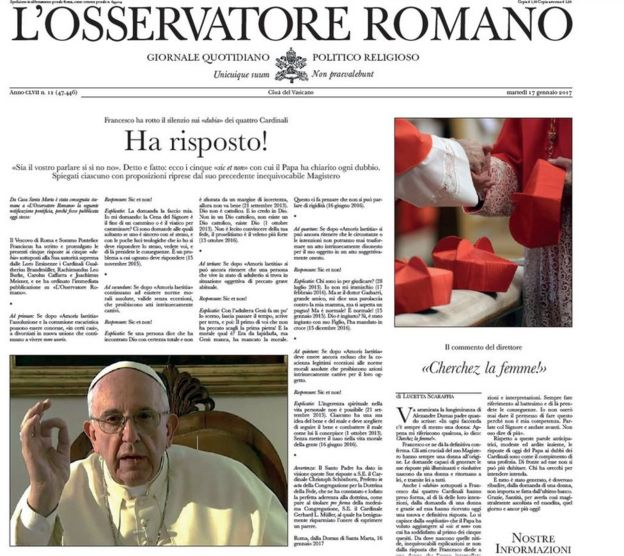 Capa falsa do L'Osservatore Romano