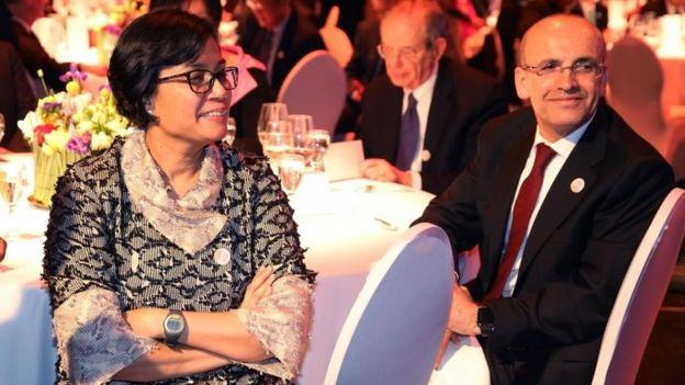 Endonezya Maliye Bakanı Sri Mulyani Indrawat ve Ekonomiden sorumlu Başbakan Yardımcısı Mehmet Şimşek