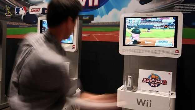 Player using Wii console