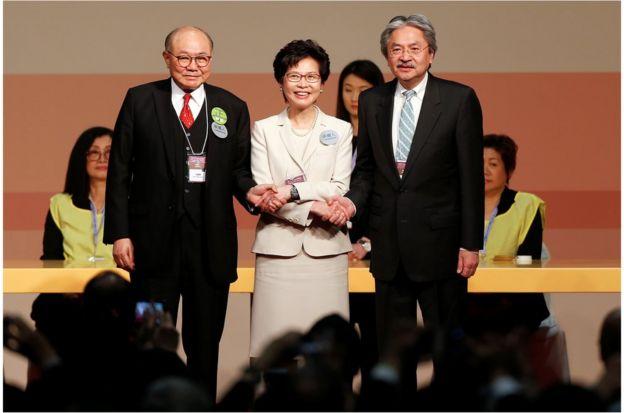 林郑月娥取得777票,曾俊华获得365票,胡国兴21票。选举共有4张无效票。