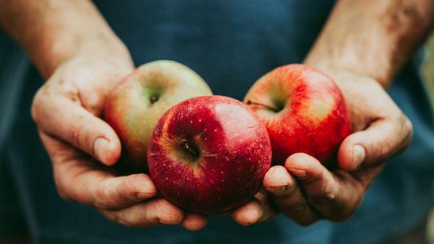 Manos unidas sosteniendo tres manzanas