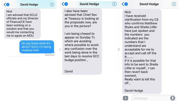 Labour released screenshots of the text exchange