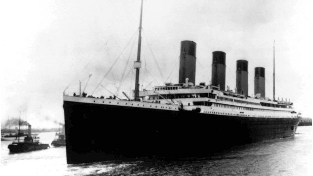 The Titanic leaving Southampton on its maiden voyage