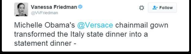 Twitter user @VVFriedman writes that Michelle Obama's Versace dress