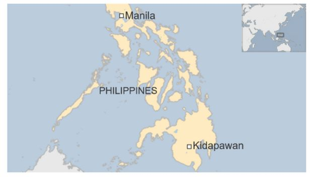 Map of Kidapawan city in Philippines