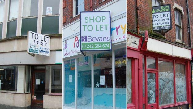 Empty shops in Gloucester