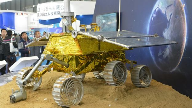 The Chinese lunar rover Yutu, or Jade Rabbit, on display at the China International Industry Fair 2013 in Shanghai.