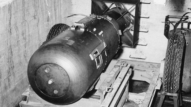 The Hiroshima bomb was nicknamed 'Little Boy'. Here it is before being loaded into the Enola Gay's bomb bay