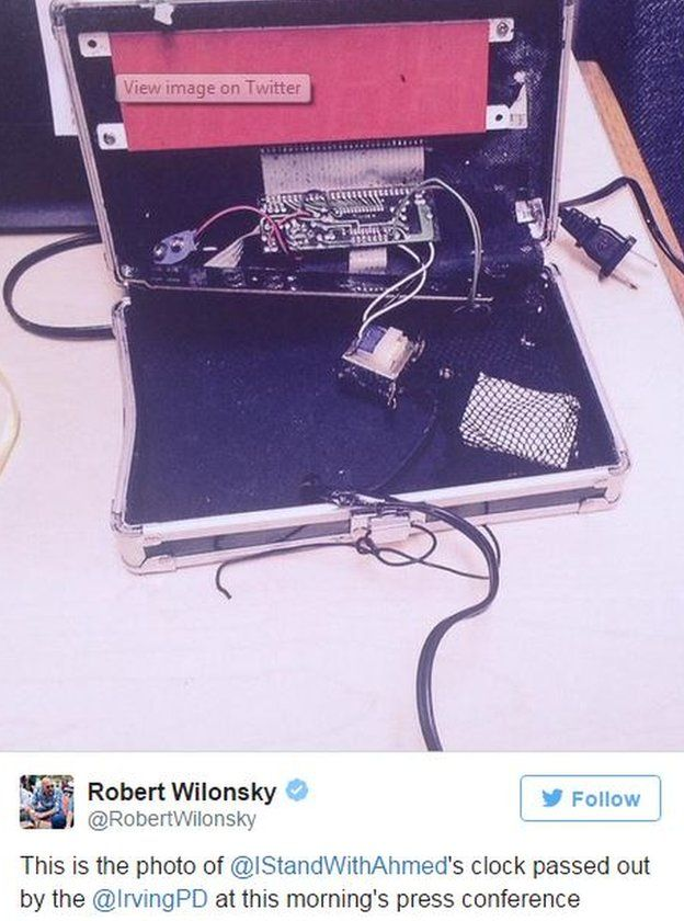 16 September 2015 photo of the clock brought in by Ahmed Mohamed