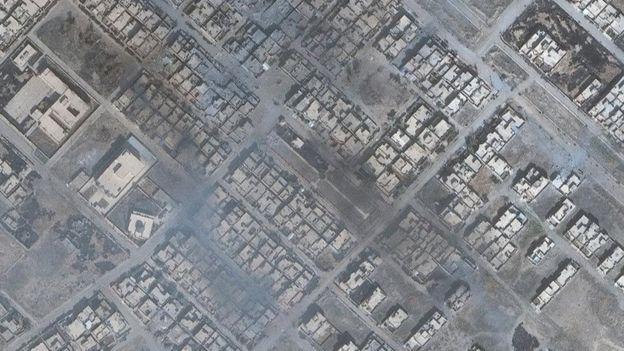 La vista satelital de la localidad de Bartella, a menos de 15 km de Mosul.