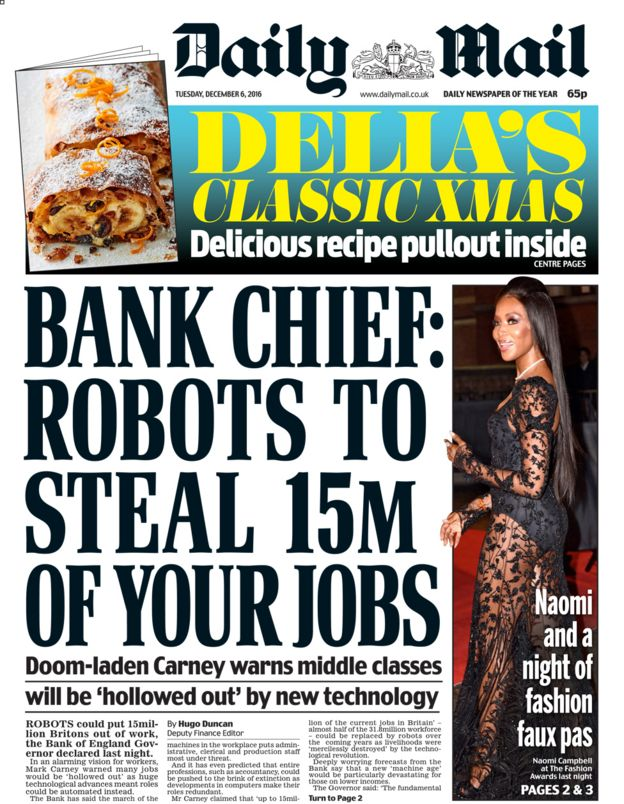 Daily Mail front page - 06/12/16