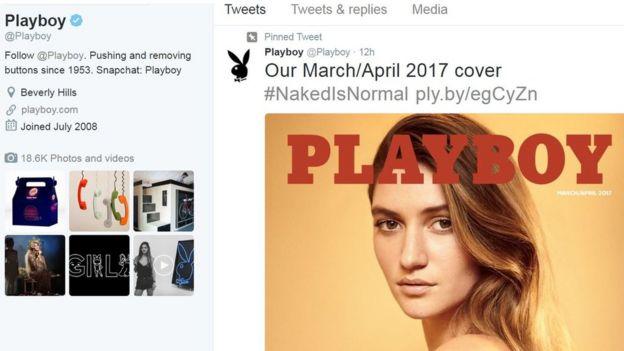 《花花公子》在推特上公布了最新三月至四月版雜誌的