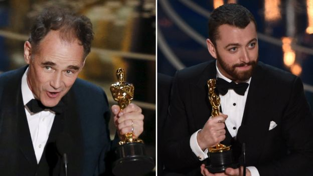 Britons Mark Rylance and Sam Smith won their first Oscars at the ceremony