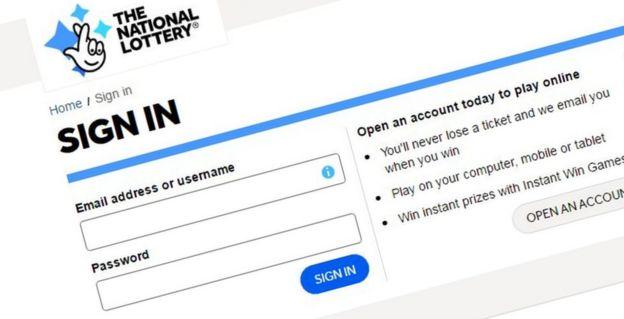 National Lottery logon