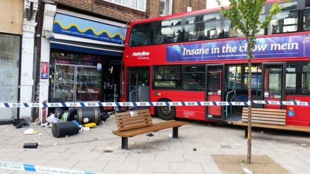 Bus crash in Harlesden