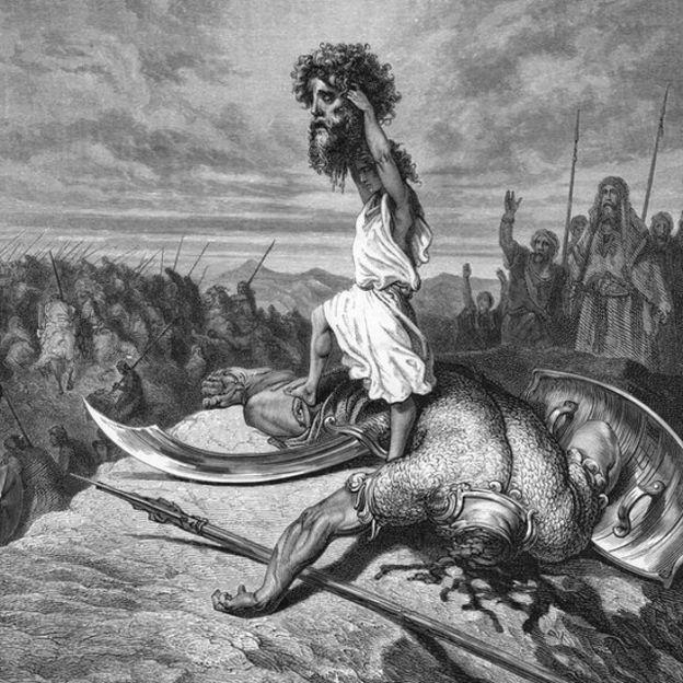 Grabado de David con la cabeza de Goliath