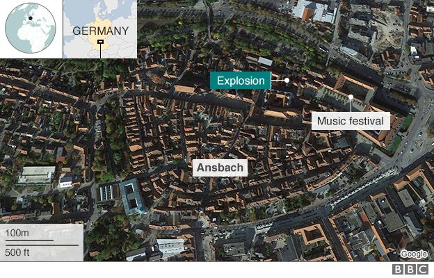 Map showing location of explosion in Ansbach