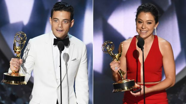 Rami Malek and Tatiana Maslany
