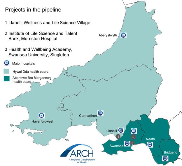 Map showing Arch projects