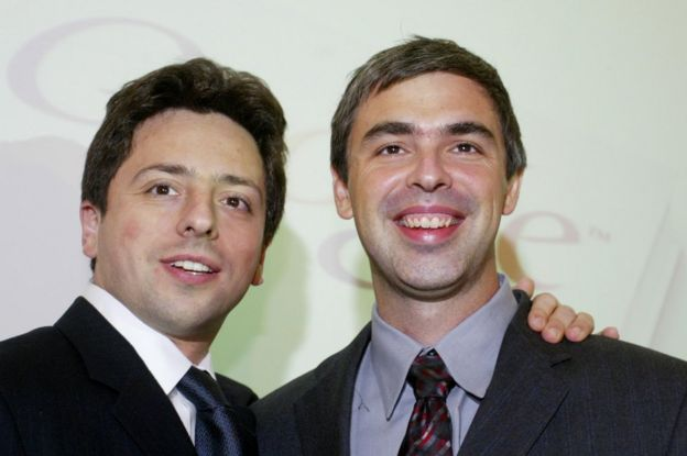 Google founders Sergey Brin (L) and Larry Page (R)