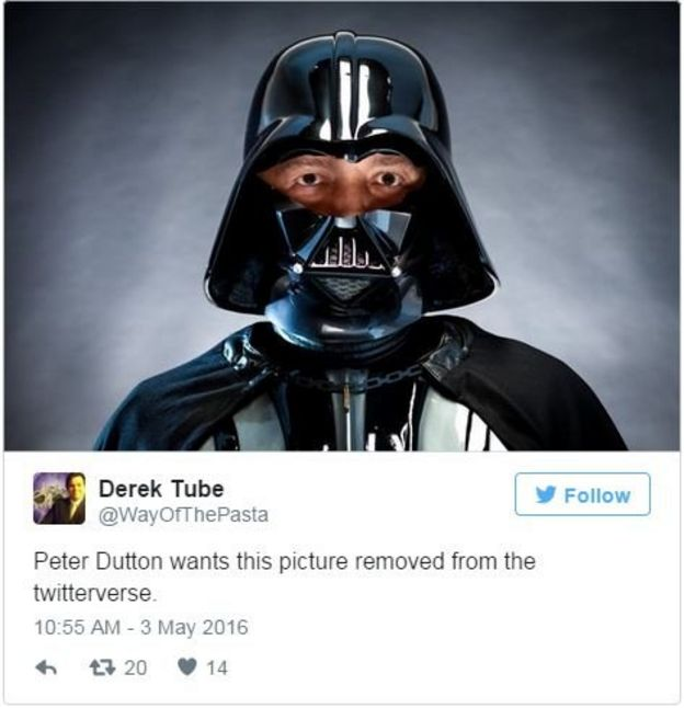 Derek Tube: Peter Dutton wants this picture removed from the twitterverse