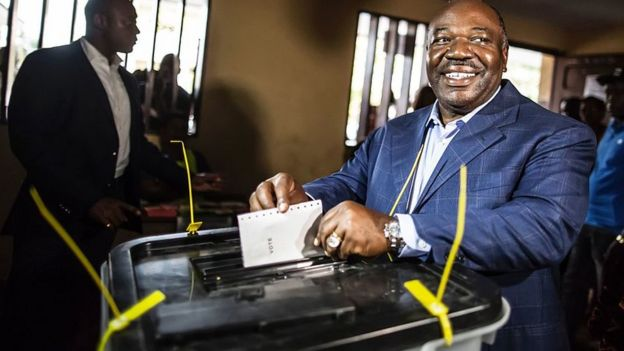 Ali Bongo casting his vote