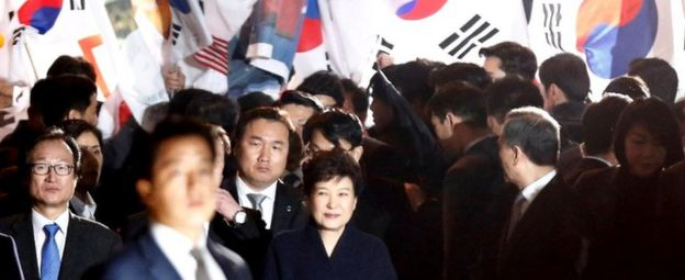 Ms Park was upbeat after arriving at her home in southern Seoul